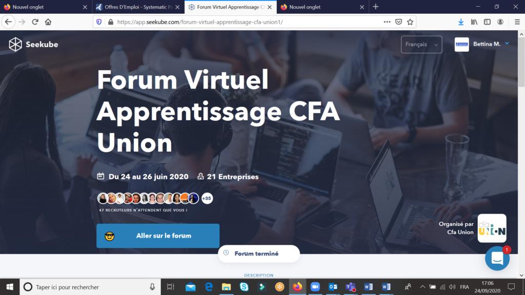 Forum victruel apprentissage CFA Union et Systematic